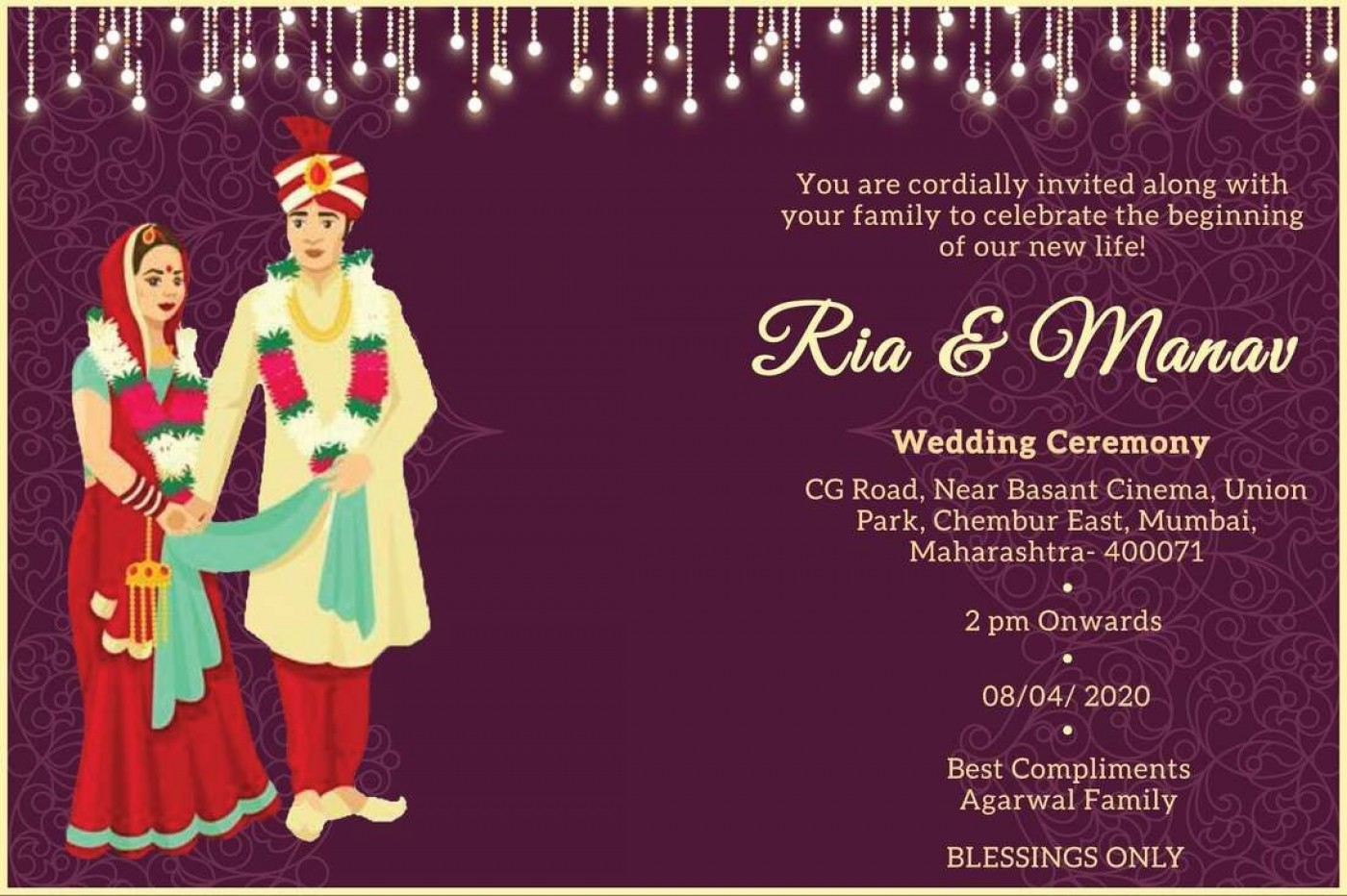 009 Remarkable Free Online Indian Wedding Invitation Card Template Idea 1400