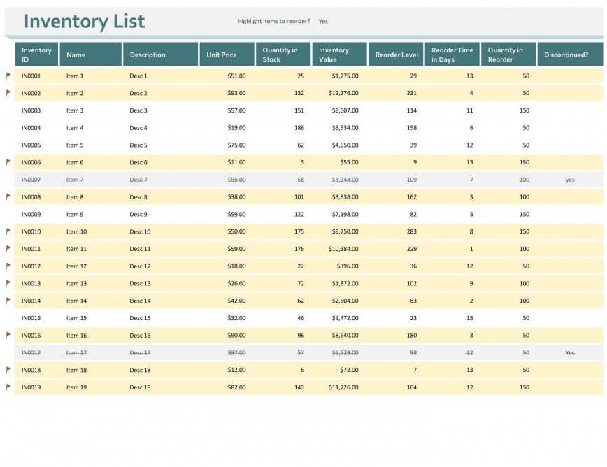 009 Remarkable Inventory Control Excel Template Free Download Concept