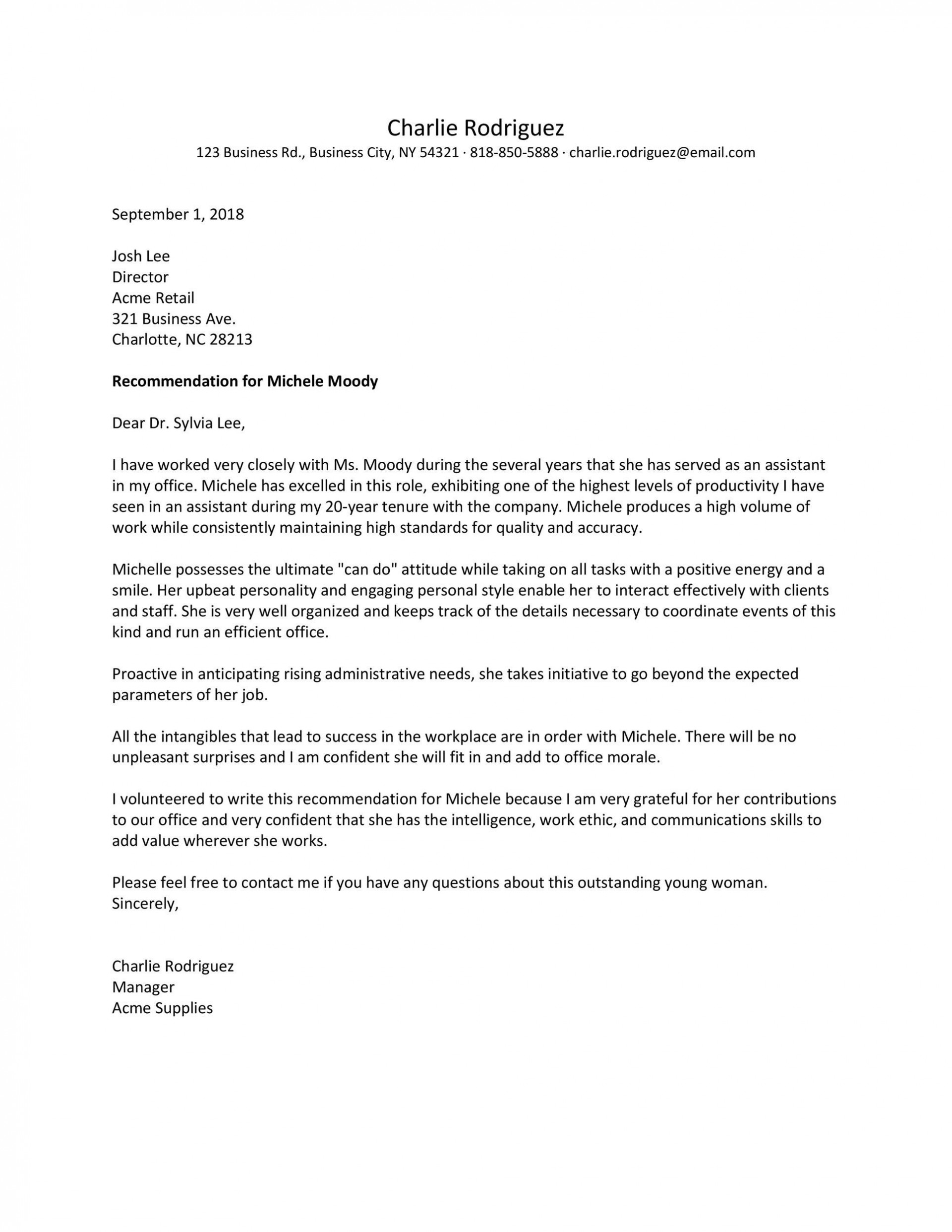 009 Remarkable Letter Of Recommendation Template Design  Word Sample For College Admission Student Doc1920
