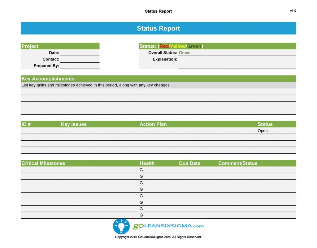 009 Remarkable Project Management Report Template Word Design  Free StatuLarge