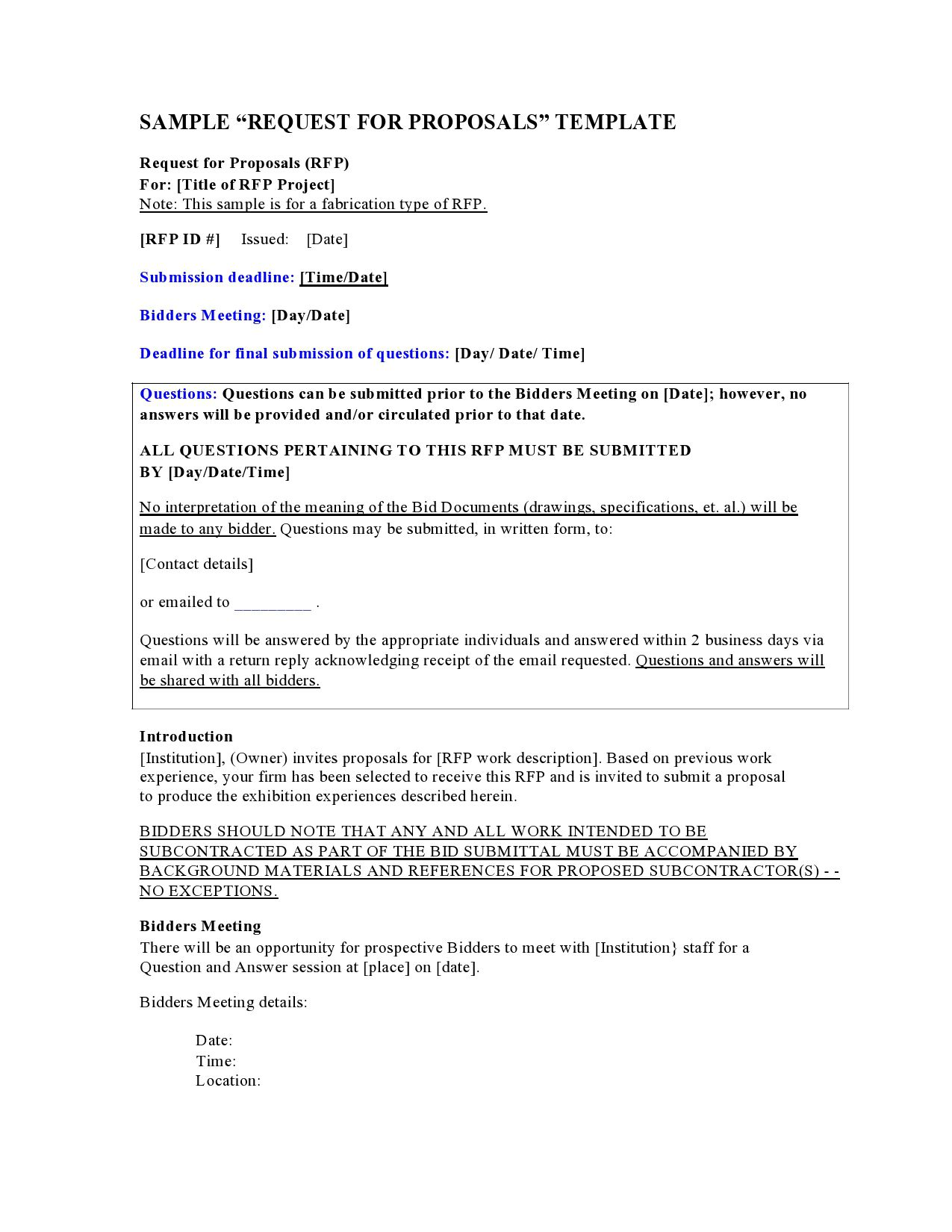 009 Remarkable Request For Proposal Template Canada Picture Full