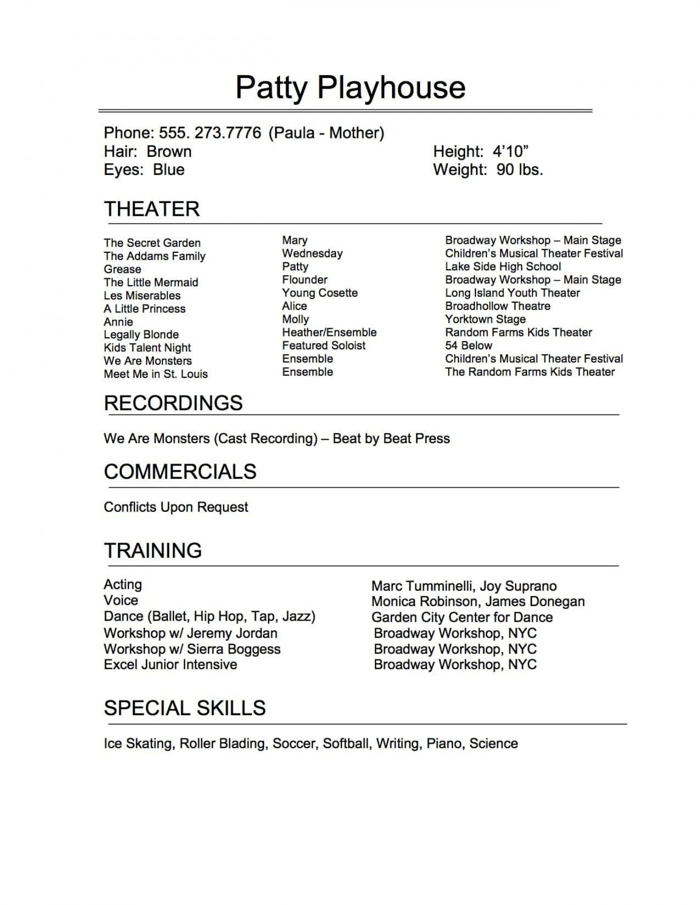 009 Remarkable Technical Theatre Resume Template Highest Clarity  Google Doc Tech1400