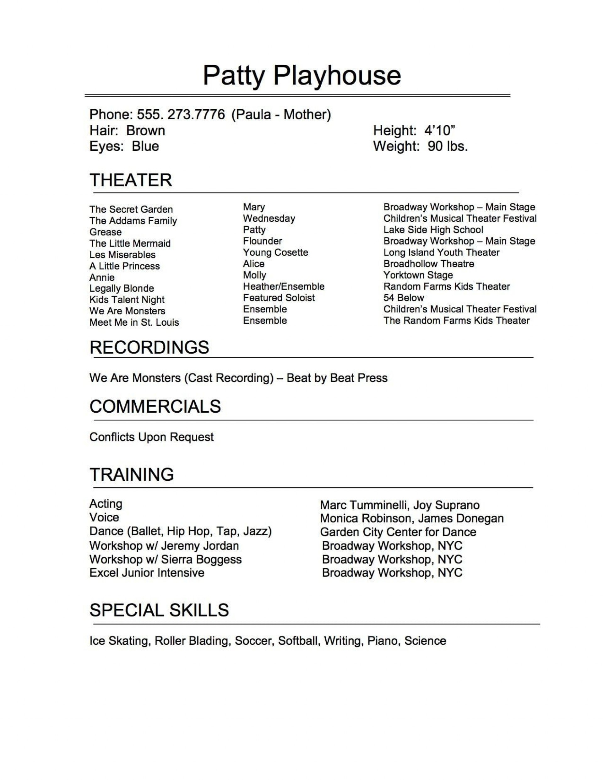 009 Remarkable Technical Theatre Resume Template Highest Clarity  Google Doc Tech1920