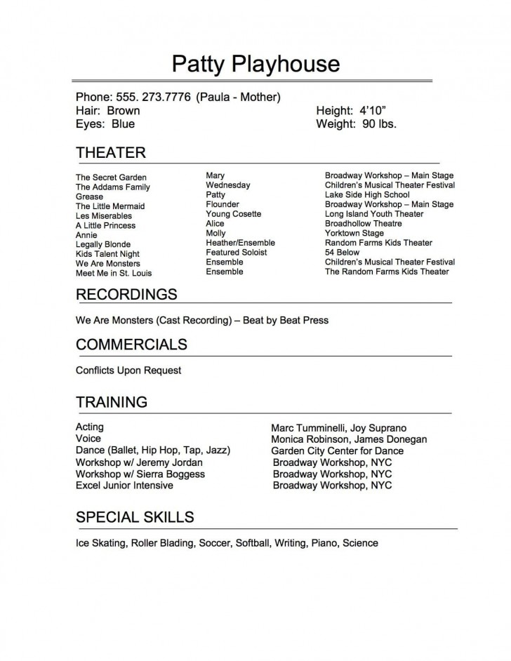 009 Remarkable Technical Theatre Resume Template Highest Clarity  Google Doc Tech728