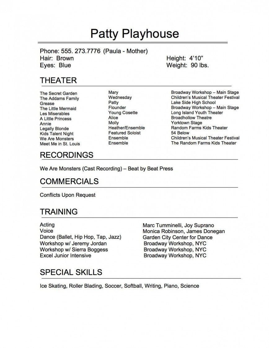 009 Remarkable Technical Theatre Resume Template Highest Clarity  Google Doc Tech868