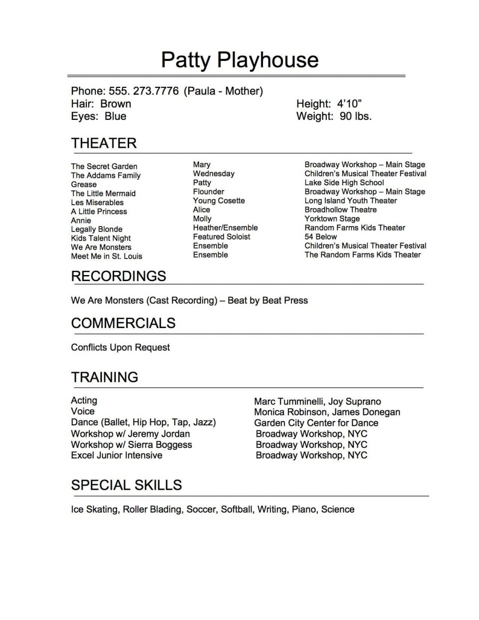 009 Remarkable Technical Theatre Resume Template Highest Clarity  Google Doc Tech960