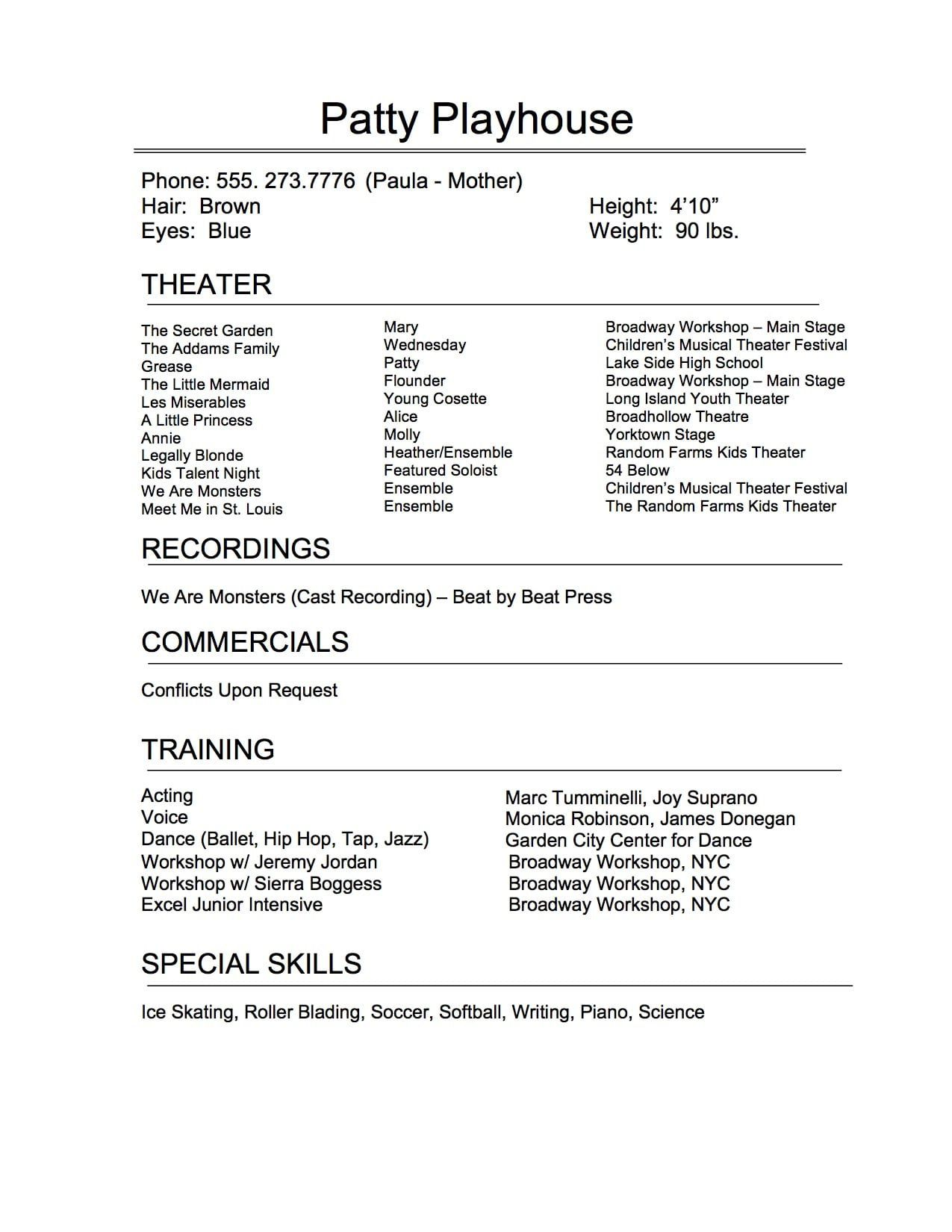 009 Remarkable Technical Theatre Resume Template Highest Clarity  Google Doc TechFull