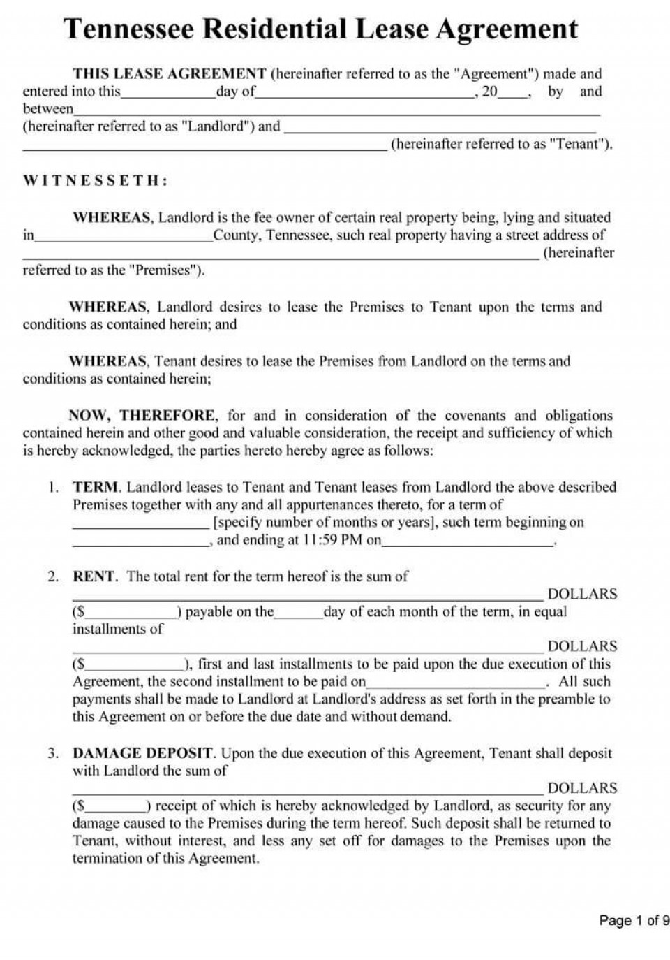 009 Remarkable Template For Property Rental Agreement Sample  Commercial960