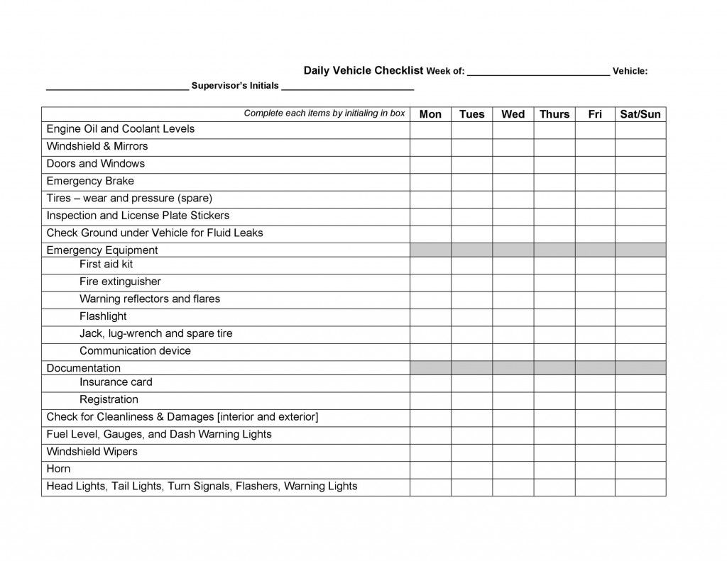 009 Remarkable Truck Inspection Form Template Design  Commercial Vehicle Maintenance FreeLarge