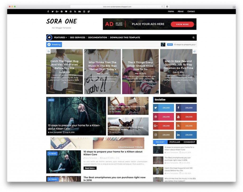 009 Sensational Best Free Responsive Blogger Template 2019 Picture Large