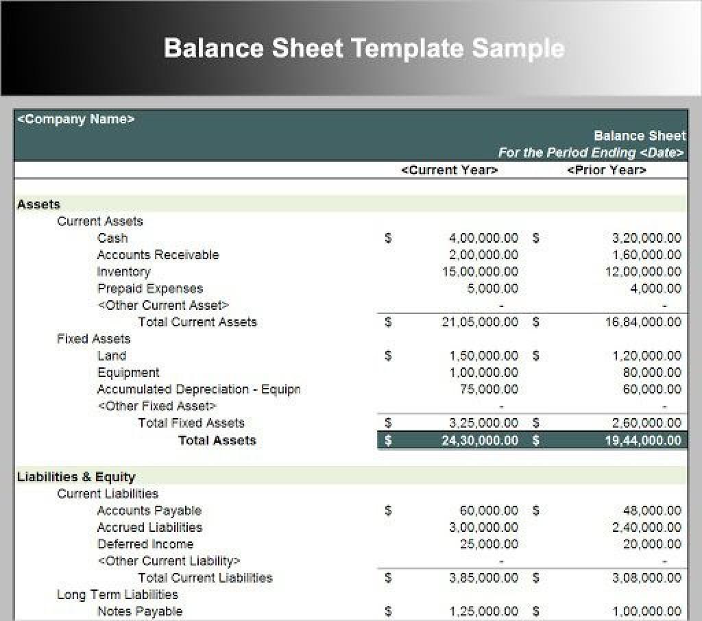 009 Sensational Busines Balance Sheet Template Concept  Word Excel Small SampleLarge