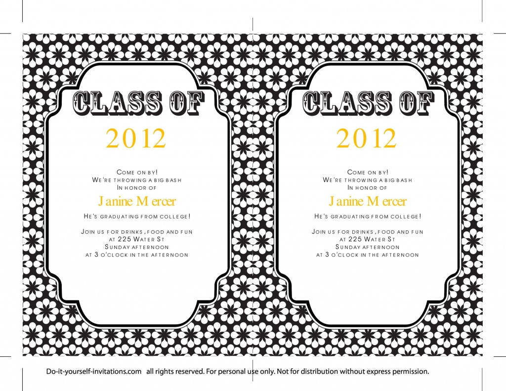 009 Sensational College Graduation Invitation Template Photo  Templates Free PartyLarge