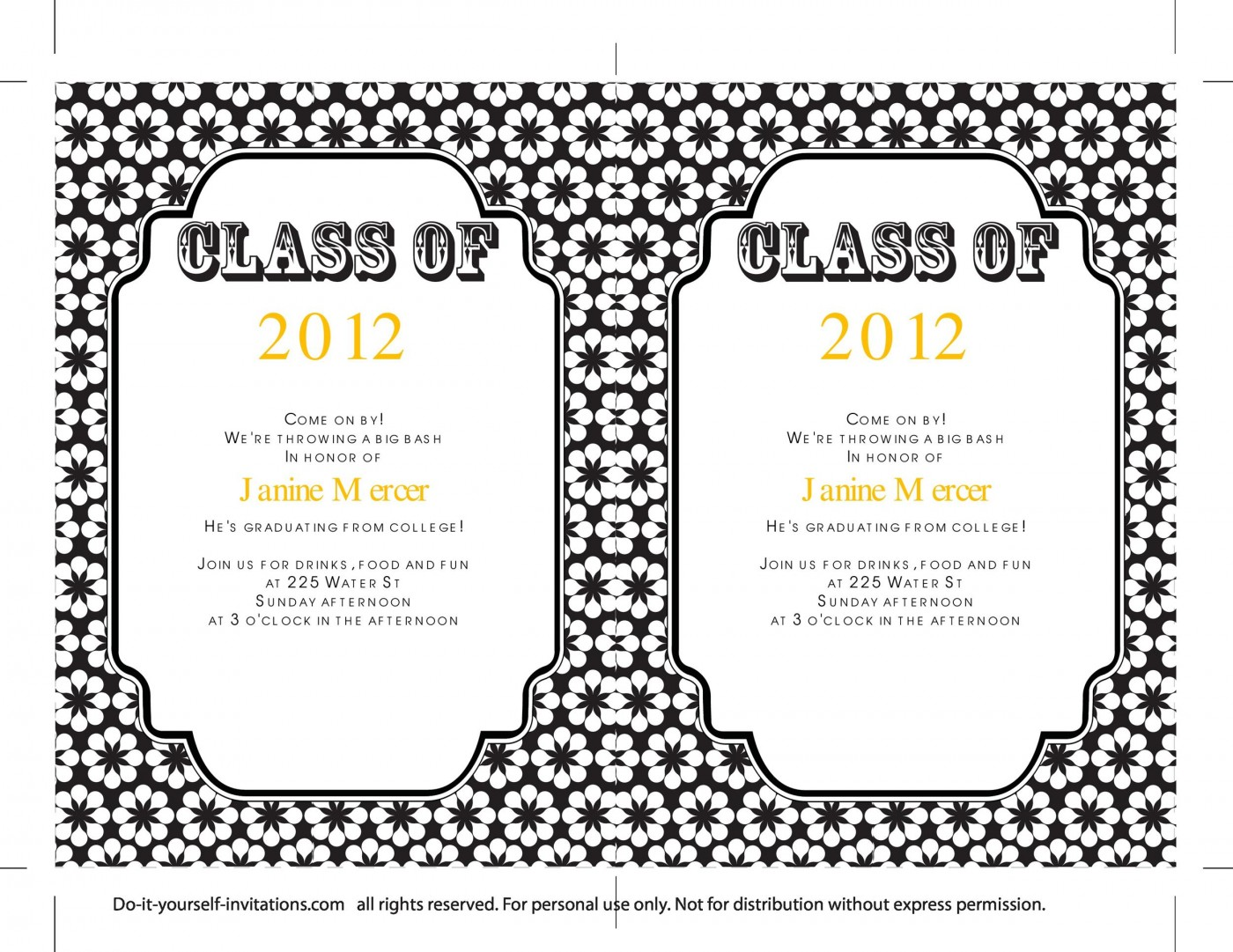 009 Sensational College Graduation Invitation Template Photo  Party Free For Word1400
