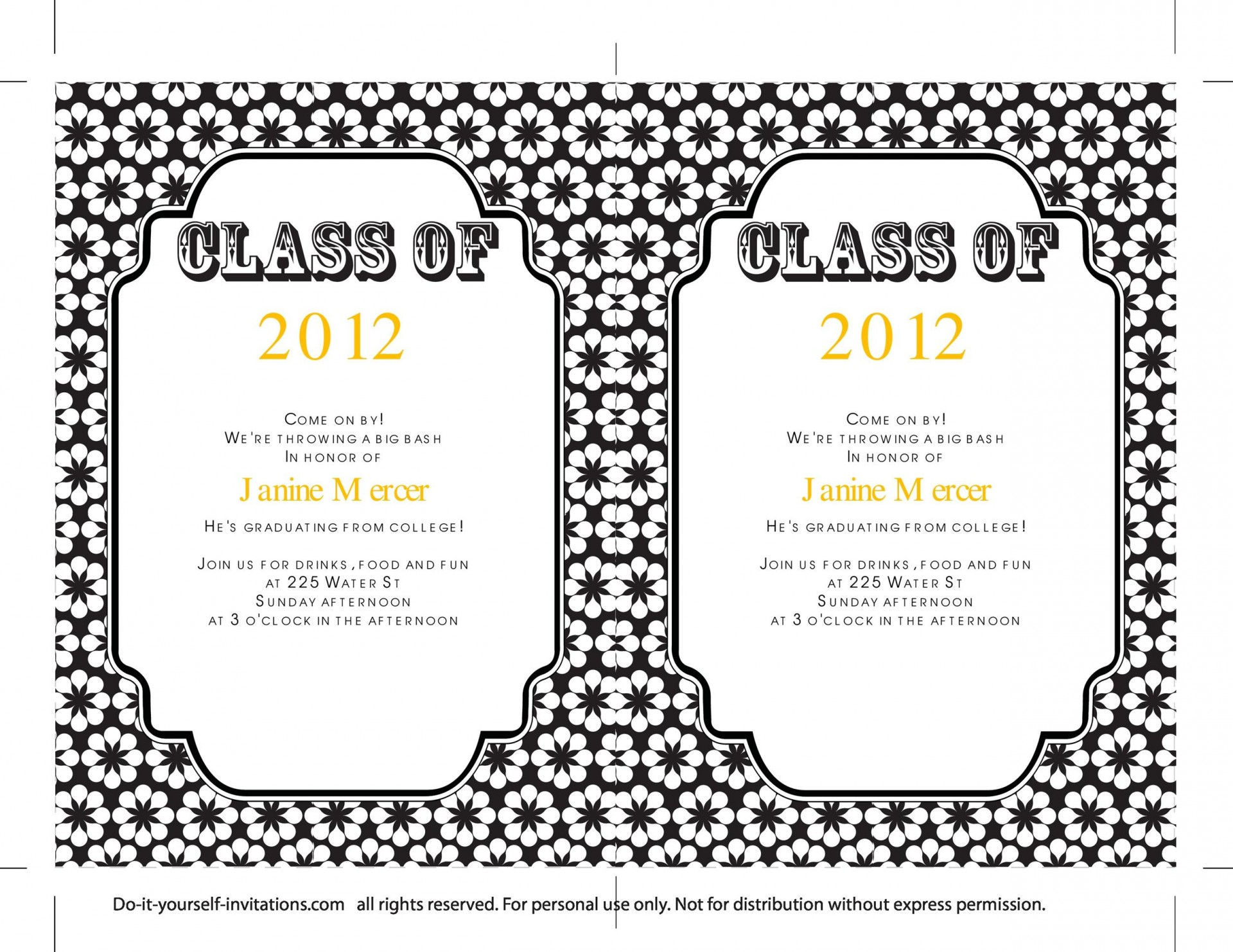 009 Sensational College Graduation Invitation Template Photo  Templates Free Party1920