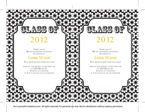 009 Sensational College Graduation Invitation Template Photo  Party Free For Word480