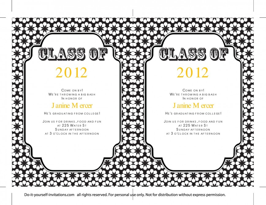 009 Sensational College Graduation Invitation Template Photo  Party Free For Word868