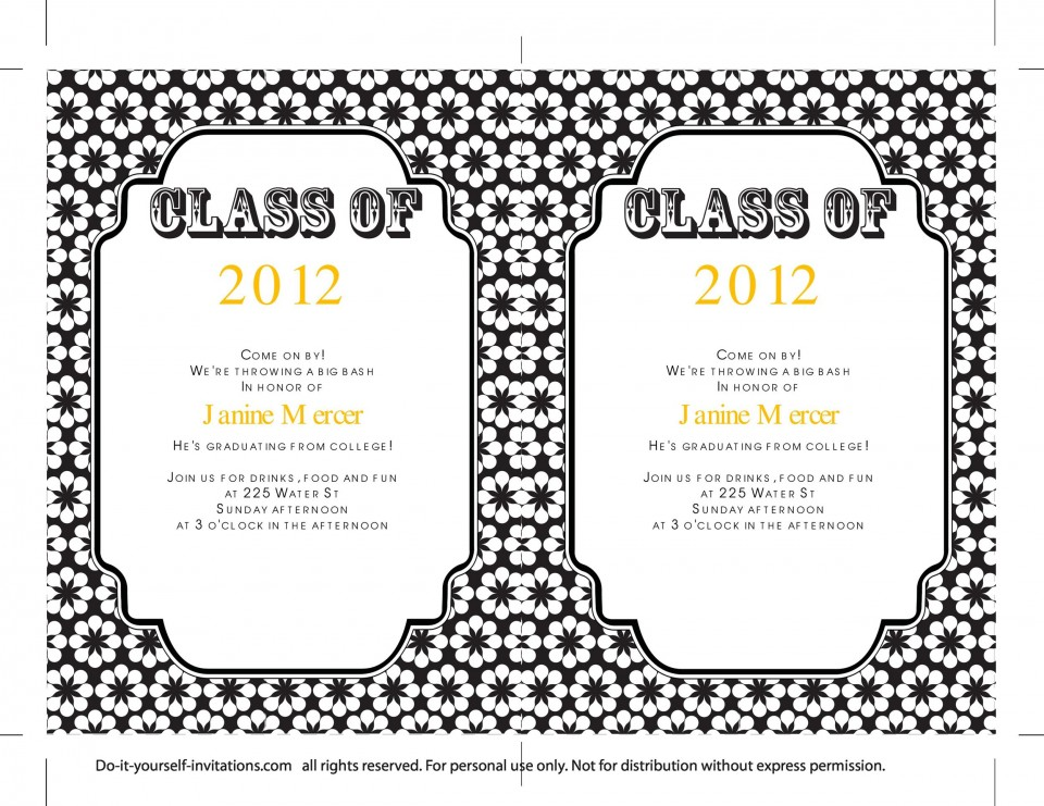 009 Sensational College Graduation Invitation Template Photo  Party Free For Word960