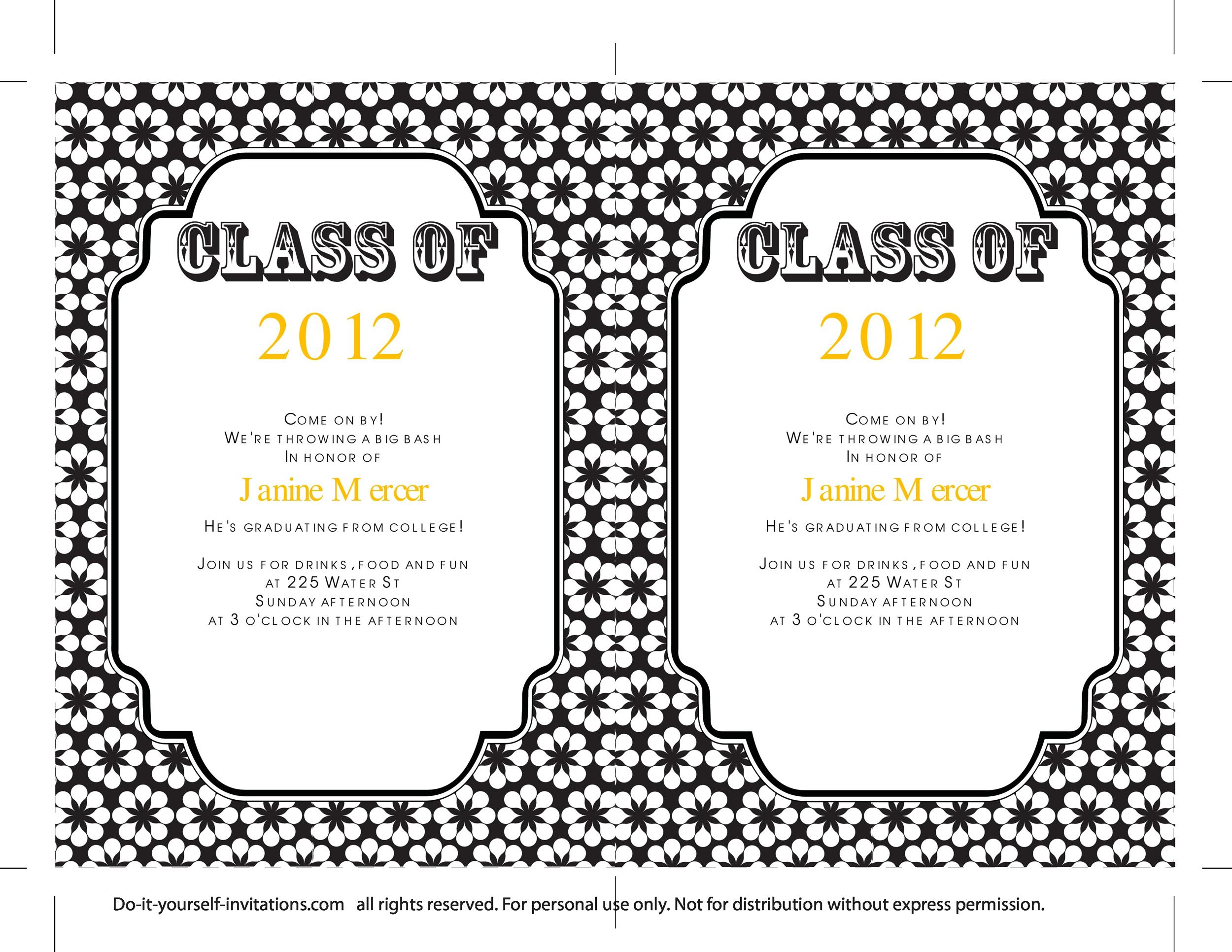 009 Sensational College Graduation Invitation Template Photo  Party Free For Word