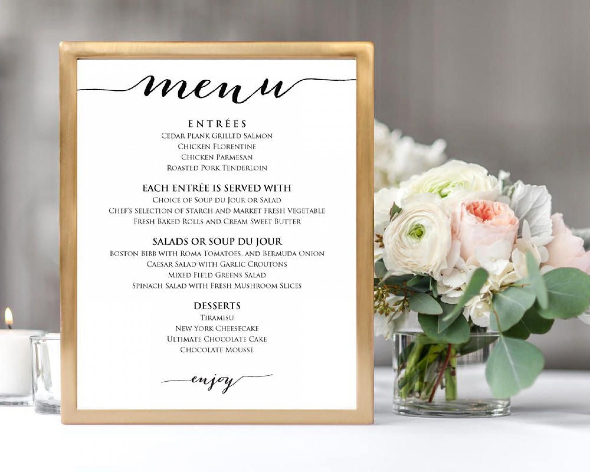 009 Sensational Diy Wedding Menu Template Design  Free Card1920