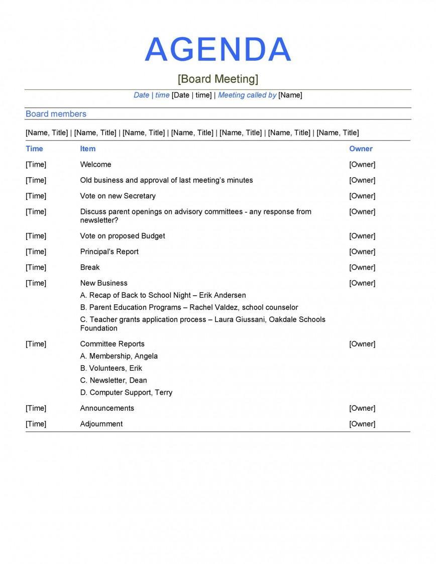 Formal Meeting Agenda Template Word Addictionary