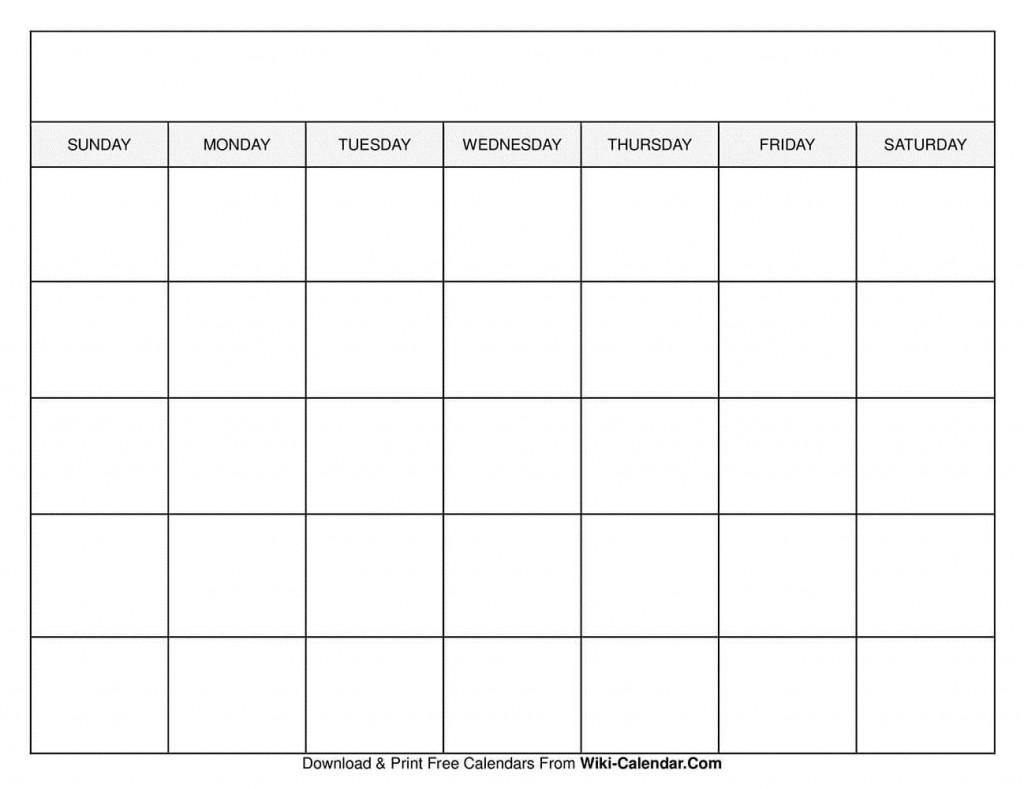 009 Sensational Free Printable Blank Monthly Calendar Template Concept Large