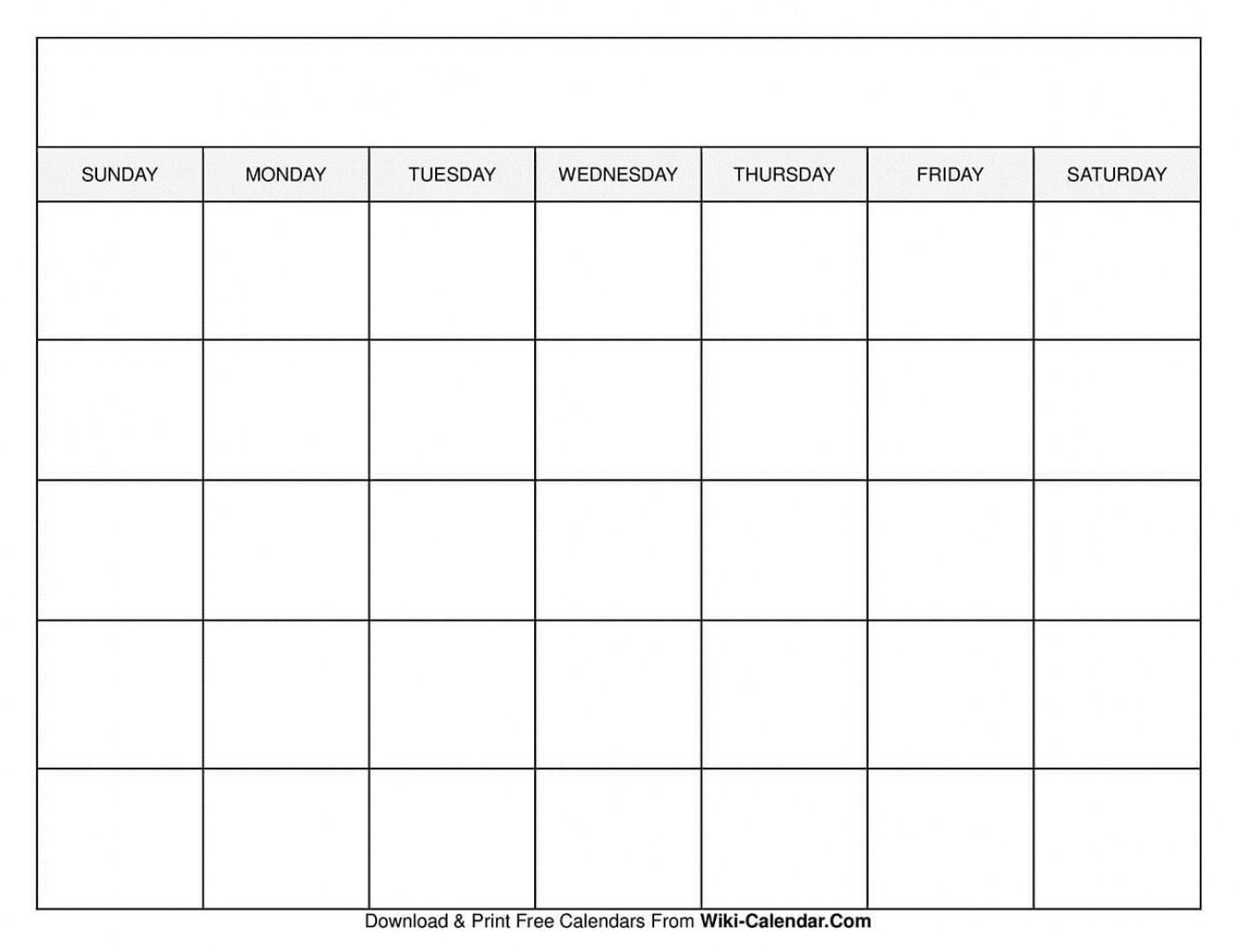 009 Sensational Free Printable Blank Monthly Calendar Template Concept 1400