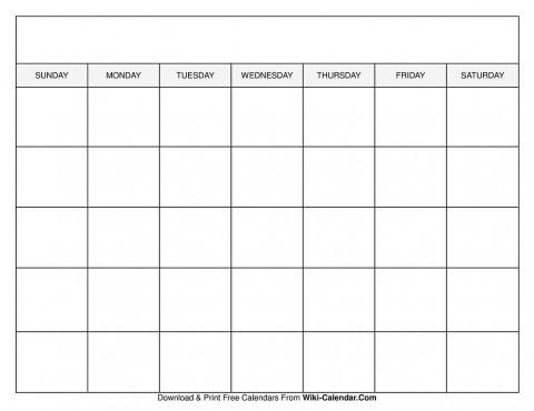 009 Sensational Free Printable Blank Monthly Calendar Template Concept 480