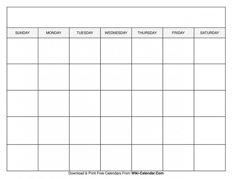 009 Sensational Free Printable Blank Monthly Calendar Template Concept 960
