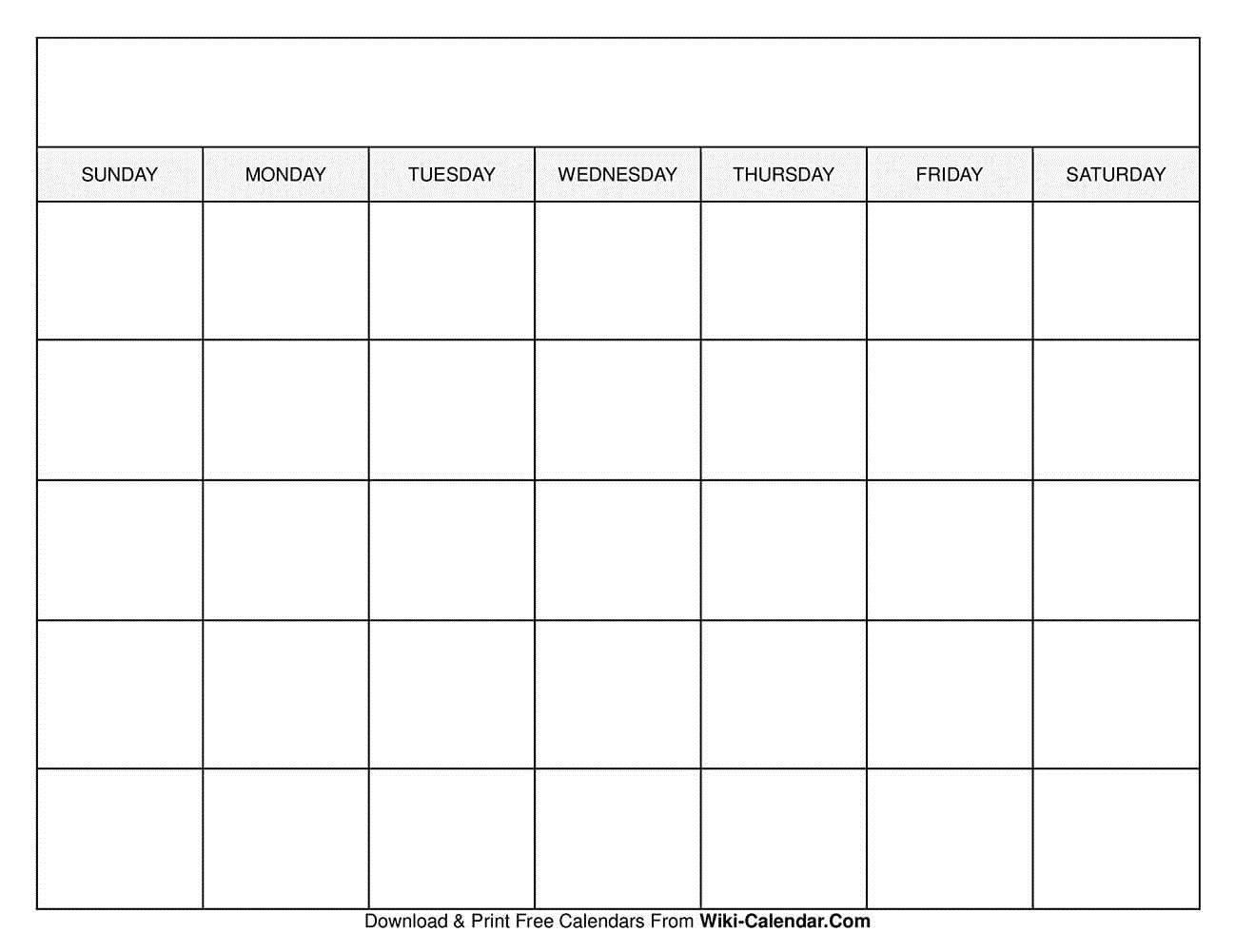 009 Sensational Free Printable Blank Monthly Calendar Template Concept Full