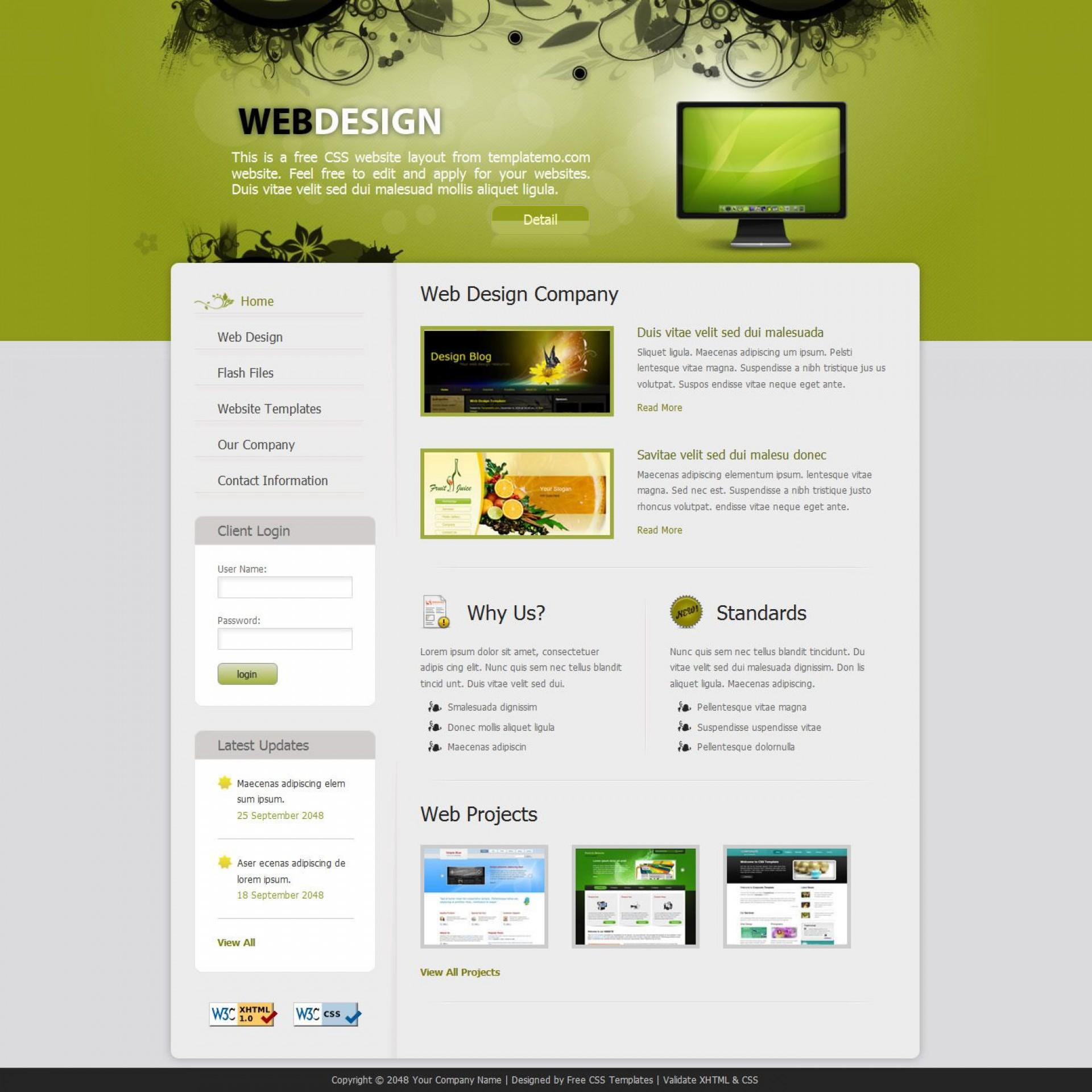 009 Sensational Free Professional Web Design Template Sample  Templates Website Download1920
