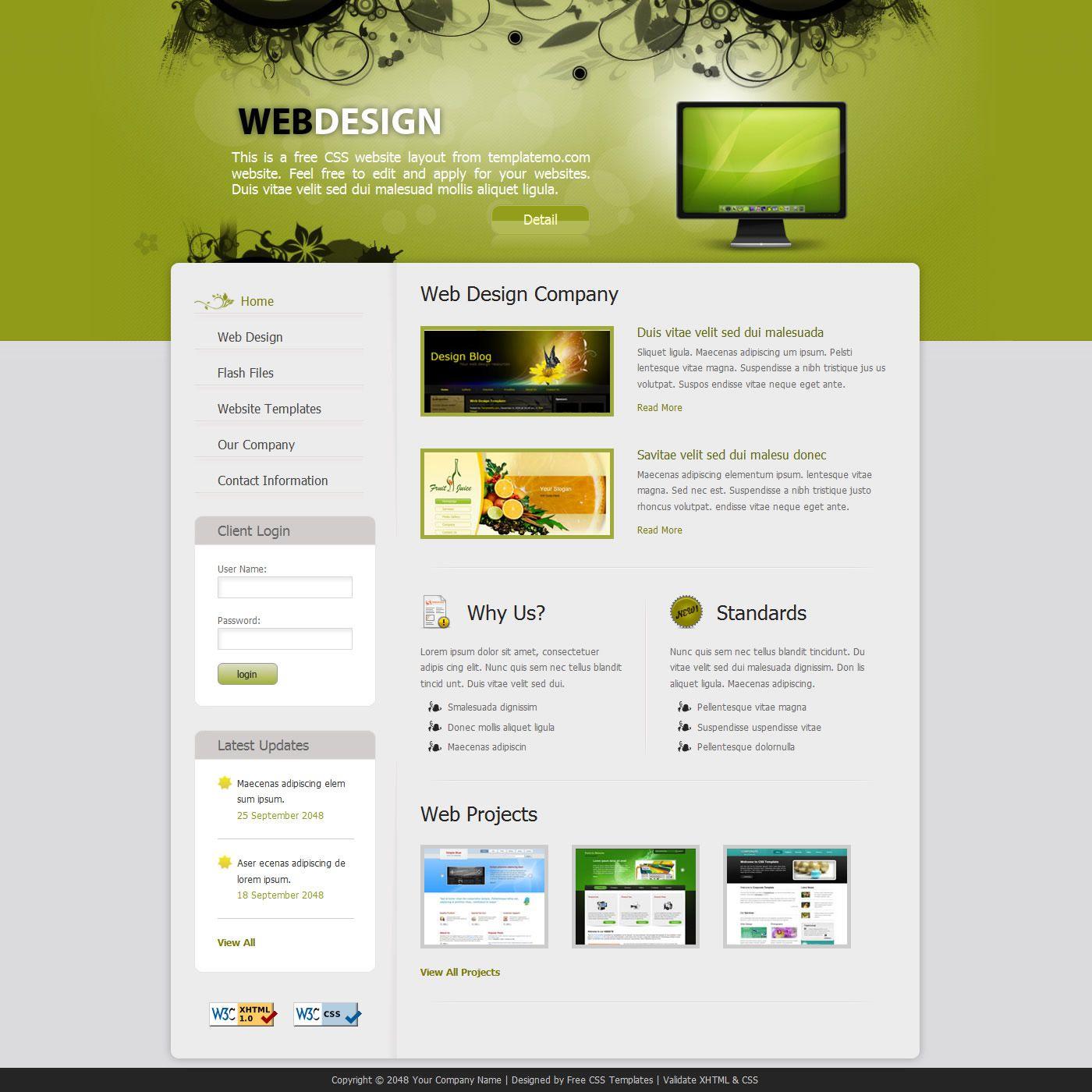 009 Sensational Free Professional Web Design Template Sample  Templates Website DownloadFull