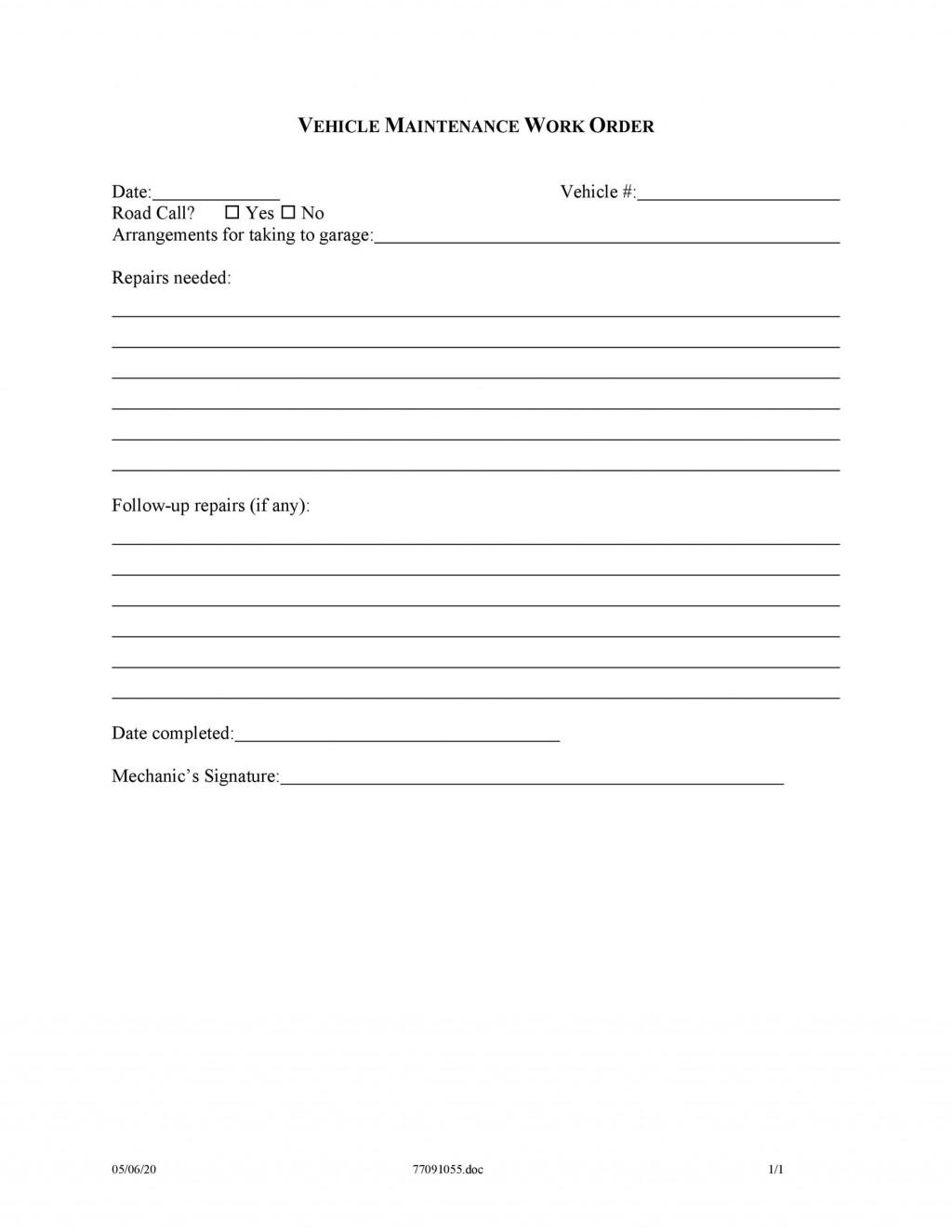 009 Sensational Maintenance Work Order Template Picture  Form Free SampleLarge