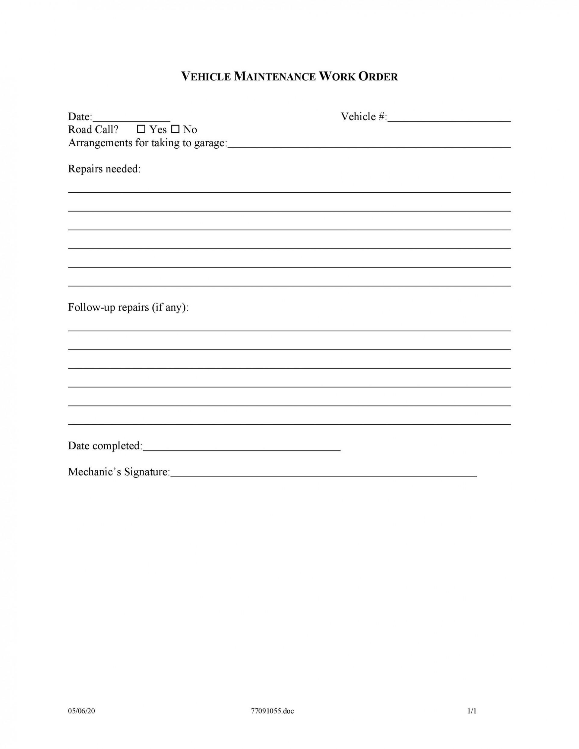 009 Sensational Maintenance Work Order Template Picture  Form Free Sample1920