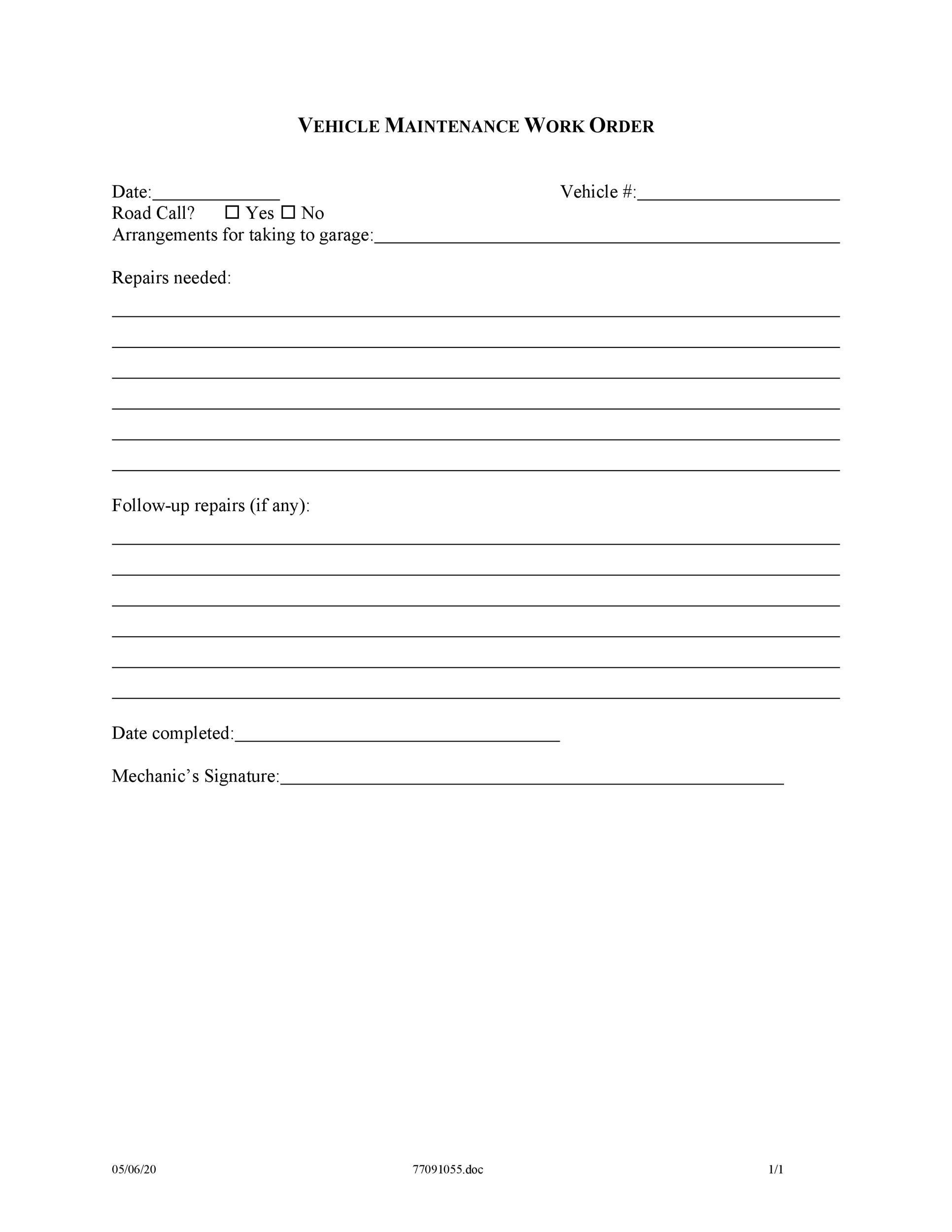 009 Sensational Maintenance Work Order Template Picture  Form Free SampleFull