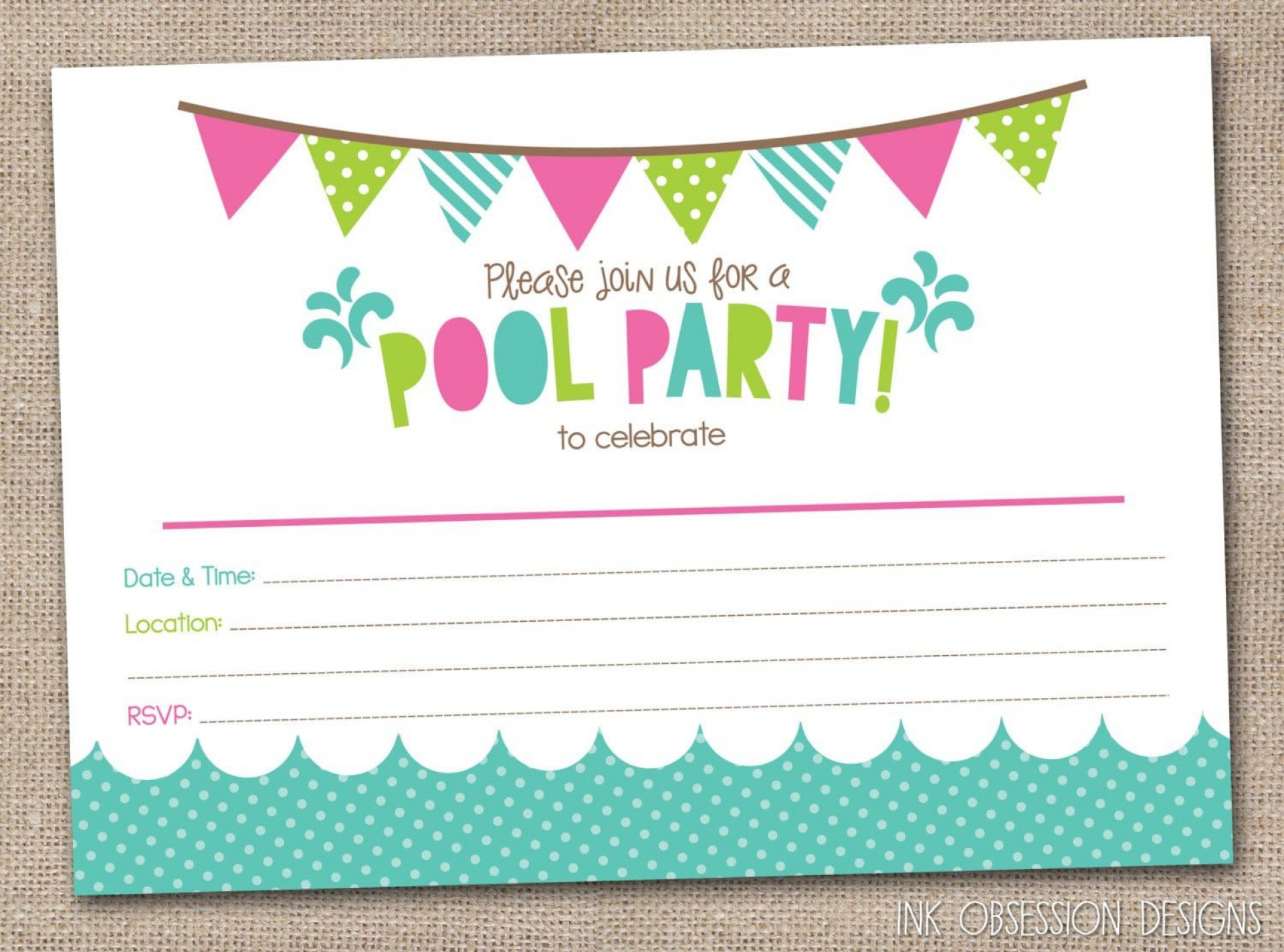 009 Sensational Pool Party Invitation Template Free Example  Downloadable Printable Swimming1920