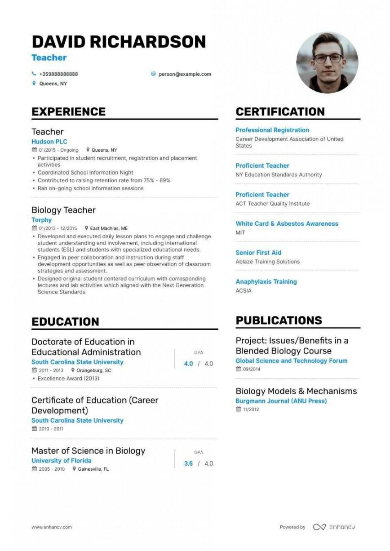 009 Sensational Resume Sample For Teaching Job In India Picture  Fresher