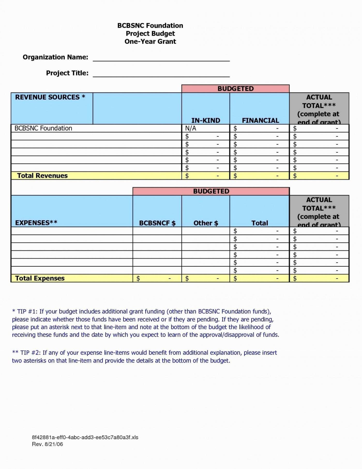 009 Sensational Sample Line Item Budget Template Highest Quality 1400