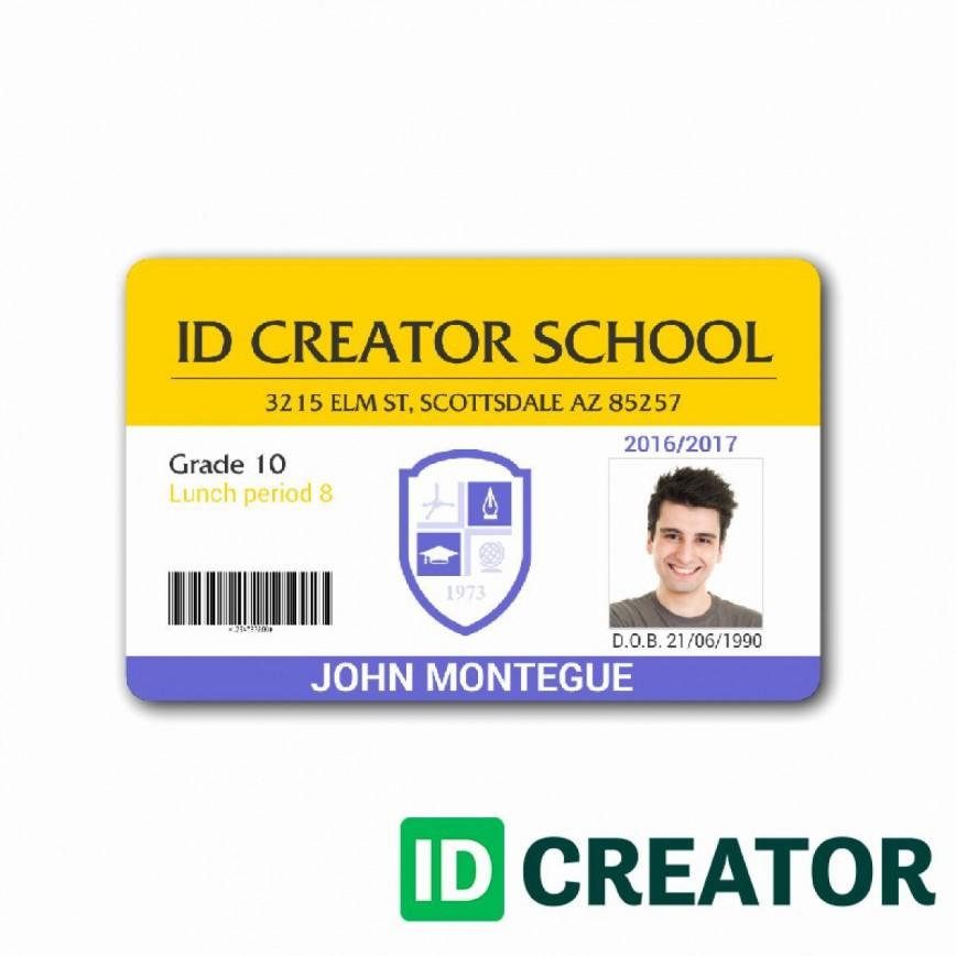 009 Sensational Student Id Card Template Concept  Free Psd Download Word School868
