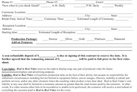 009 Sensational Wedding Videography Contract Template Concept  Pdf Example Word