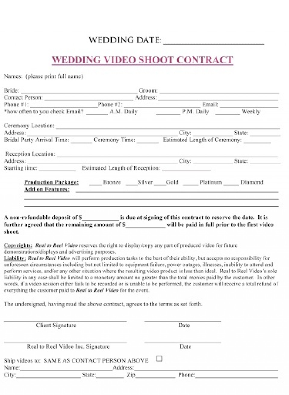 009 Sensational Wedding Videography Contract Template Concept  Pdf Example Word960