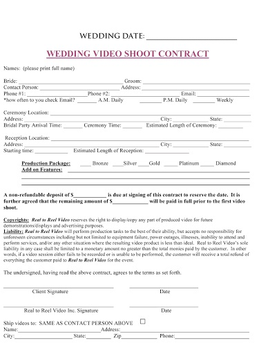 009 Sensational Wedding Videography Contract Template Concept  FreeFull