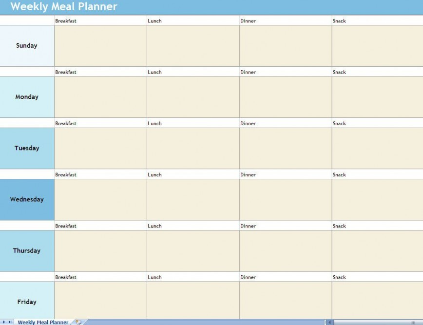 009 Shocking Excel Weekly Meal Planner Template Concept  With Grocery List Downloadable868