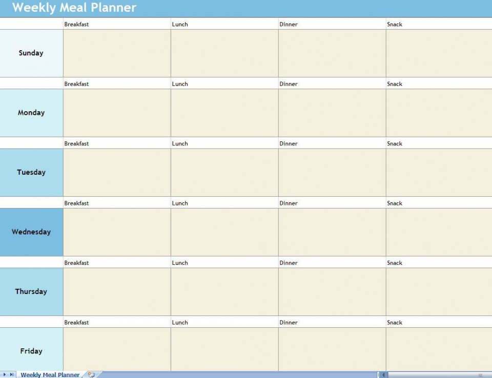 009 Shocking Excel Weekly Meal Planner Template Concept  With Grocery List Downloadable960