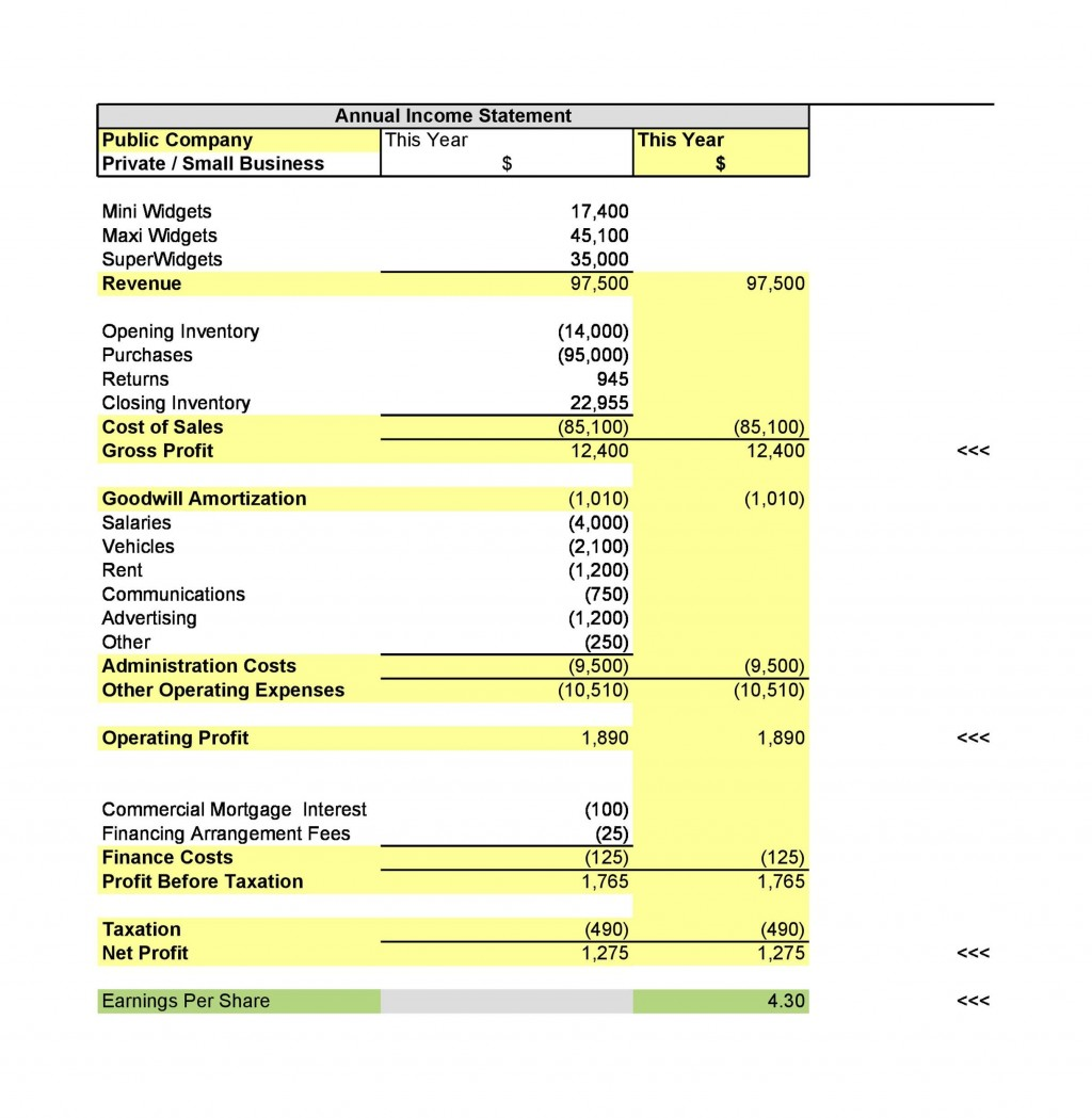 009 Shocking Income Statement Format In Excel Download High Definition Large