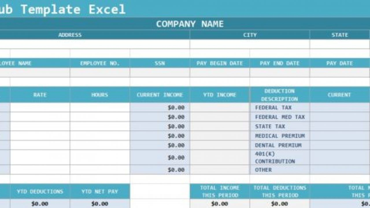 009 Shocking Pay Stub Excel Template Sample  Quickbook Paycheck Microsoft CheckFull