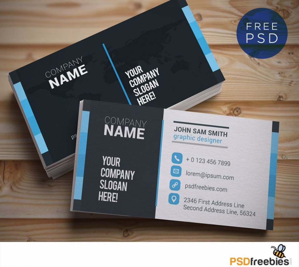 009 Shocking Psd Busines Card Template High Resolution  Computer Free With BleedLarge
