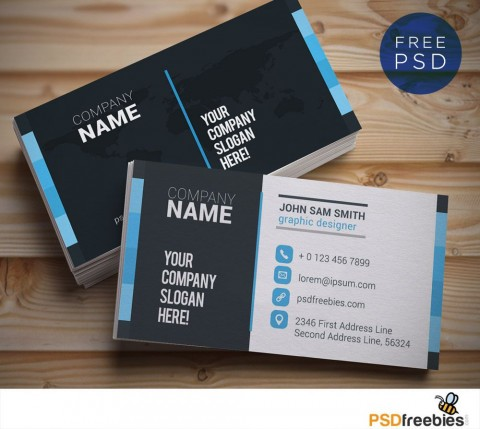 009 Shocking Psd Busines Card Template High Resolution  Computer Free With Bleed480