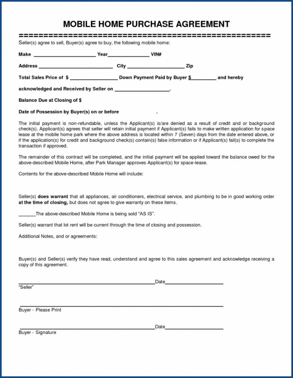 009 Shocking Purchase Agreement Template For Home Image  MobileLarge