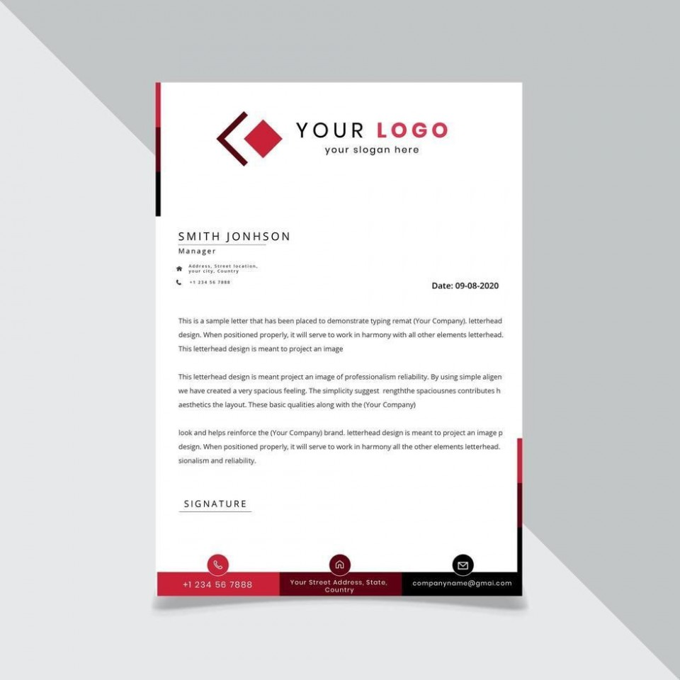 009 Shocking Sample Letterhead Template Free Download Picture  Professional Design In Word Format960