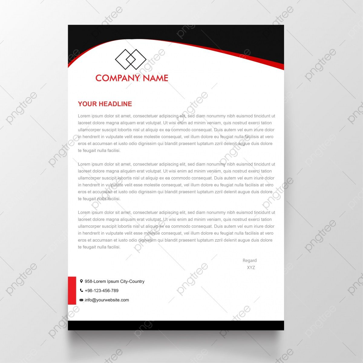 009 Shocking Simple Letterhead Format In Word Free Download Idea Full